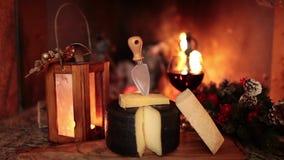 Italiensk ost och vin stock video