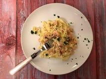 italiensk pasta L?cker tagliatelle med laxen och s?s royaltyfri fotografi
