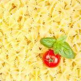 Italiensk pasta med tomaten och basilika Arkivfoto