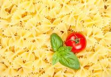 Italiensk pasta med tomaten och basilika Royaltyfri Fotografi
