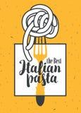 Italiensk pasta på gaffel vektor illustrationer