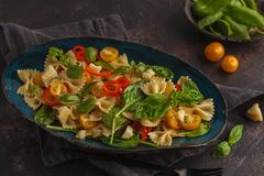 Italiensk pastafarfallesallad med grönsaker och spenat i en vara Royaltyfri Fotografi