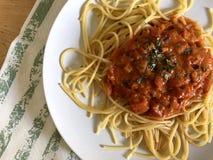 Italiensk pastaspagetti med tomatsås och basilika royaltyfri fotografi
