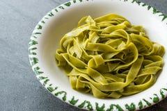 Italiensk pastaspenatFettuccine tjänade som med klart att äta för platta/tagliatelle royaltyfri bild