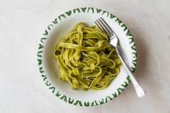 Italiensk pastaspenatFettuccine tjänade som med klart att äta för platta/tagliatelle royaltyfri foto