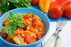 Italiensk peperonata: grillad spansk peppar Arkivfoton