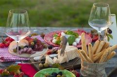 Italiensk picknick med rött vin, parmesan, skinka, caprese sallad och oliv Äta lunch utomhus och trätabellen och grönt gräs arkivfoto