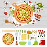 Italiensk pizza med grönsaker på tabellen Fotografering för Bildbyråer