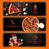 italiensk pizza Online-beställning och leverans Horisontalvektorbaner Tecknad filmstil royaltyfri illustrationer