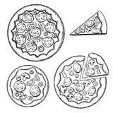 Italiensk pizza skissar med olik toppning Fotografering för Bildbyråer