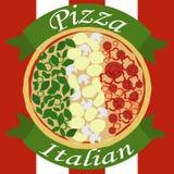 Italiensk pizza som en italiensk flagga royaltyfri illustrationer