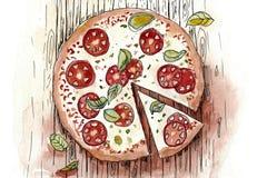 Italiensk pizzamargaritta vektor illustrationer