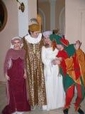 Italiensk prins Lorenzo Medichi Jr. Stor maskeradkläderboll i renässansstil Arkivbild