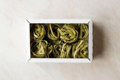Italiensk rå pastaspenatFettuccine i ask/tagliatelle royaltyfri foto