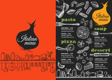Italiensk restaurang för meny, matmallplacemat Arkivbilder