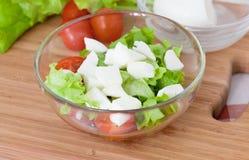 Italiensk sallad från körsbärsröda tomater Royaltyfri Foto