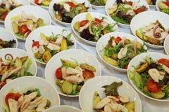 Italiensk salladbuffé på hotellet sköta om för matparti Aptitretare, lyxmat - grönsaksallad och prosciutto Royaltyfri Bild