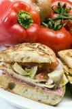 italiensk smörgås för gourmet- skinka Royaltyfri Fotografi