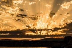Italiensk solnedgång, Liguria, Genova arkivbilder