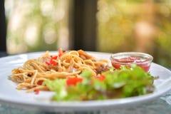 Italiensk spagetti med höna Fotografering för Bildbyråer
