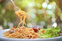 Italiensk spagetti med höna på den vita plattan Arkivfoton