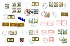Italiensk stolpestämpel och etiketter Arkivbilder