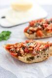 Italiensk tomat rostad bruschetta Fotografering för Bildbyråer