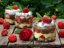 Italiensk traditionell efterrätt av jordgubbar, sockerkakan, vaniljsås och maräng royaltyfri bild