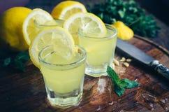 Italiensk traditionell likörlimoncello med citronen royaltyfri foto