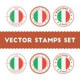 Italiensk uppsättning för rubber stämplar för flagga stock illustrationer