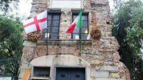Italiensk utforskare för Genova Italien Liguria Christopher Columbus hus som upptäckte den Amerika kontinenten stock video