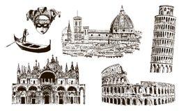 Italienska arkitektoniska symboler: Coliseum Duomo Santa Maria del fiore, pisan torn, Basilika di San Marco, gondol, carnaval mas vektor illustrationer