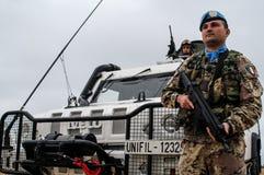 Italienska fredsbevararesoldater i Libanon Arkivbilder