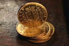 Italienska guld- mynt Arkivfoto