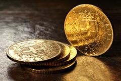 Italienska guld- mynt Royaltyfri Foto