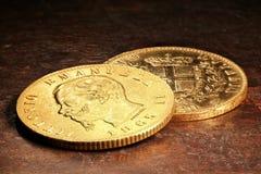 Italienska guld- mynt Fotografering för Bildbyråer