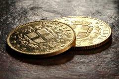 Italienska guld- mynt Arkivbild