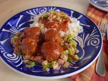 Italienska köttbullar med ett lokalt vridningrecept som inkluderar kryddig tomatsås för vita ris och skivad tomatlökar och persil royaltyfri bild