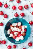 Italienska matingredienser - mozzarella, tomater på betong ovanför sikt royaltyfria bilder