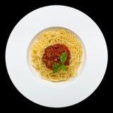 italienska matlagningmatingredienser bolognese spagetti Royaltyfri Fotografi