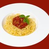 italienska matlagningmatingredienser bolognese spagetti Royaltyfria Bilder