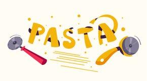 italienska matlagningmatingredienser l?cker g?rande pasta den fr?mmande tecknad filmkatten flyr illustrationtakvektorn royaltyfri illustrationer