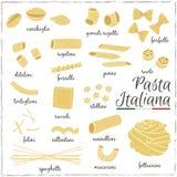 Italienska pastasamlingsteckningar skissar stock illustrationer