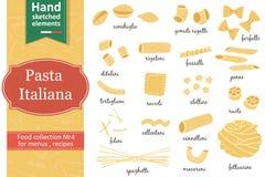 Italienska pastasamlingsteckningar skissar hand-teckning stock illustrationer