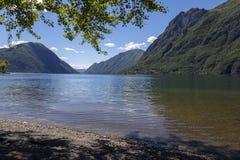 Italienska sjöar - sjön Lugano - Italien Arkivbilder