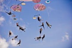 Italienskt akrobatiskt lag i Sibiu Rumänien royaltyfri fotografi