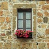 Italienskt fönster med trevliga blommor i det gamla stenhuset, Tuscany, det Royaltyfria Foton