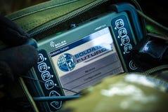 Italienskt framtida soldatprojekt den bärbara PC:n Royaltyfria Bilder