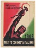 Italienskt kommunistpartikort, PCI, tappning 1948, historiskt dokument Royaltyfria Bilder