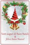 Italienskt kort för hälsning för vinterferie Arkivfoto
